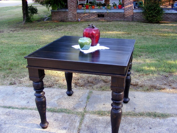 Bistro Table Distressed Black with Beautiful Hand Carved Legs