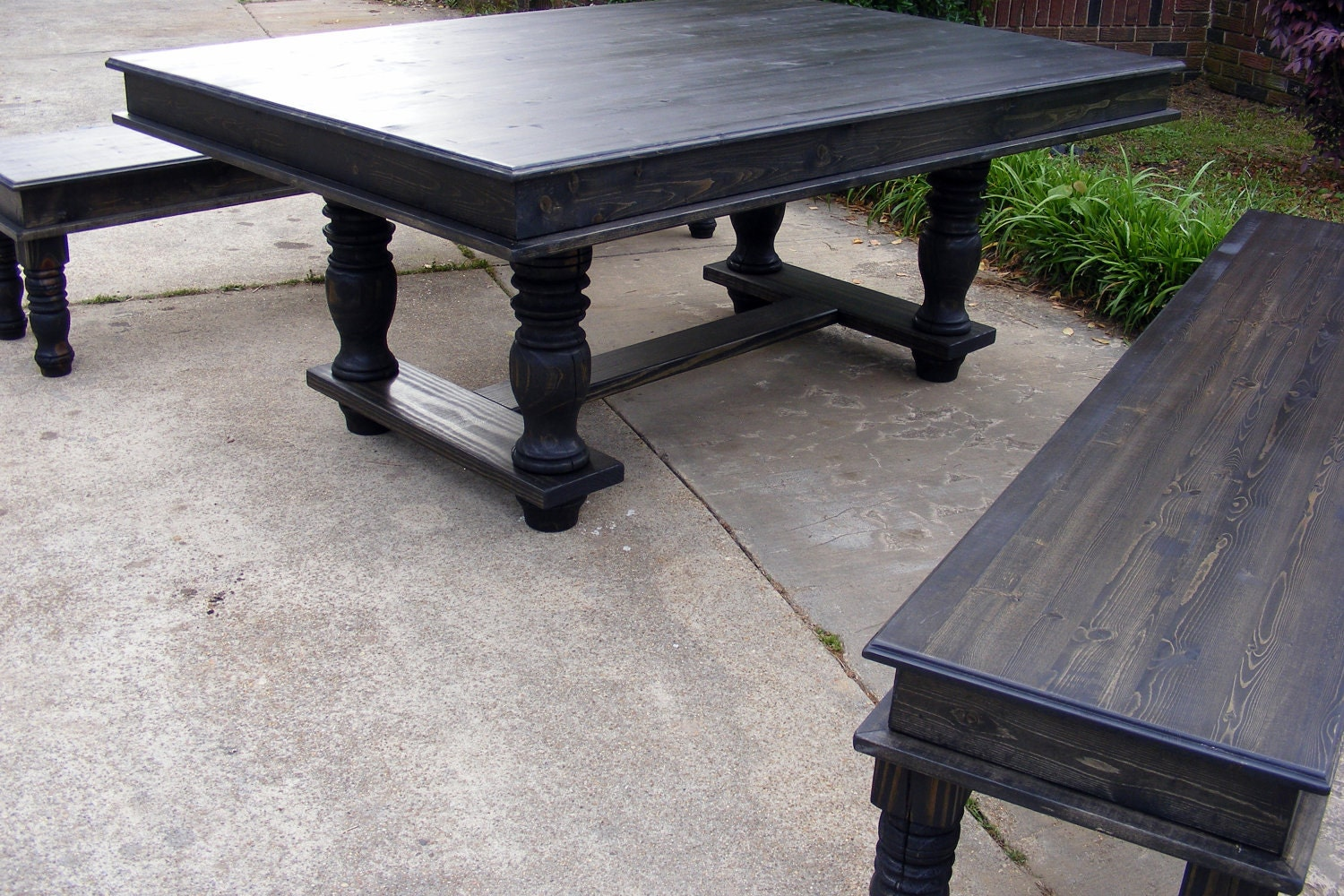 Trestle Dining Table And Matching Benches Ebony Stained Finish : ilfullxfull327414422 from www.etsy.com size 1500 x 1000 jpeg 452kB