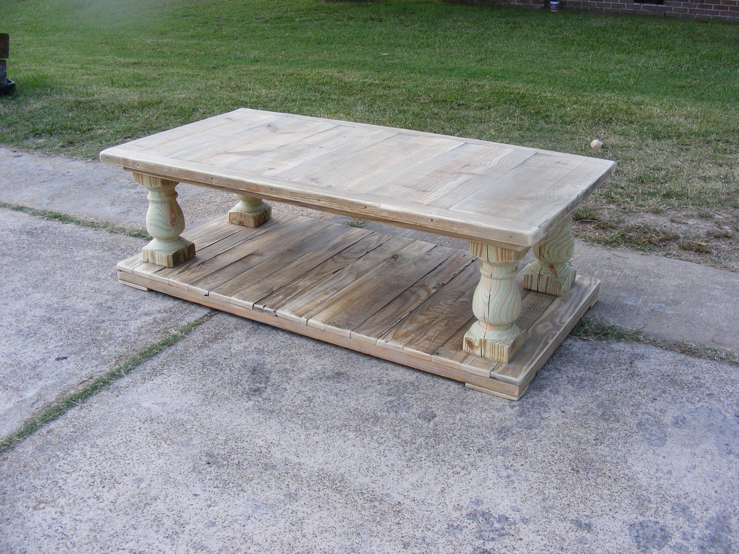 Reserved For Brett Balustrade Coffee Table 60x30x19 Unfinished