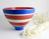 Red White and Blue Striped Bowl on SALE - 30% OFF Original Price of 38.00
