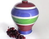 Cookie Jar with Lid in Maroon, Blue and Green Stripes
