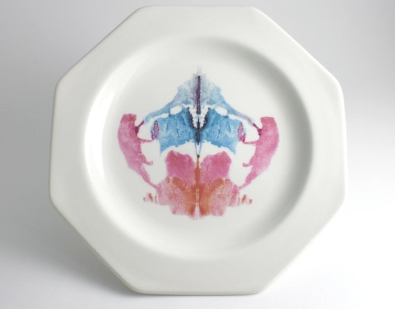 Rorschach Plate - Psychiatrist Ink Blot Test Pink, Blue and Red