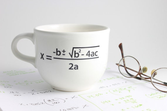 Quadratic Equation Math Coffee Cup in Black and White