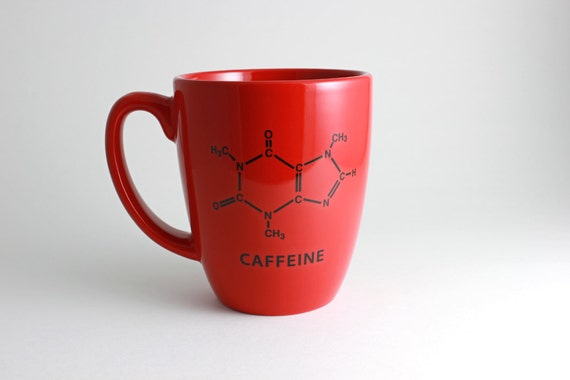 Red Coffee Cup with Caffeine Chemistry Molecule Decal