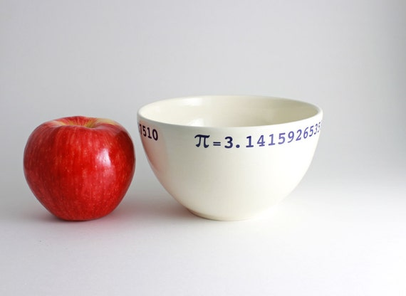 Pi Bowl 3.14... Math Bowl in White and Blue