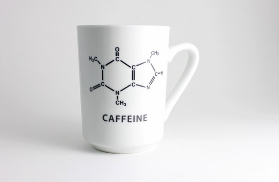 Science Coffee Cup - Black and White with Caffeine Molecule