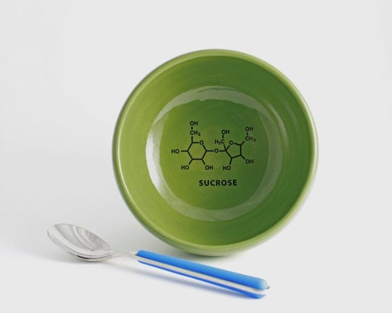 Spring Green Sugar Bowl with Sucrose Molecule - Green and Black Chemistry Bowl