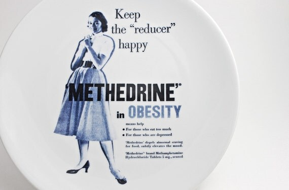 1950's Housewife Lunch Plate with Diet Pill Advertisement