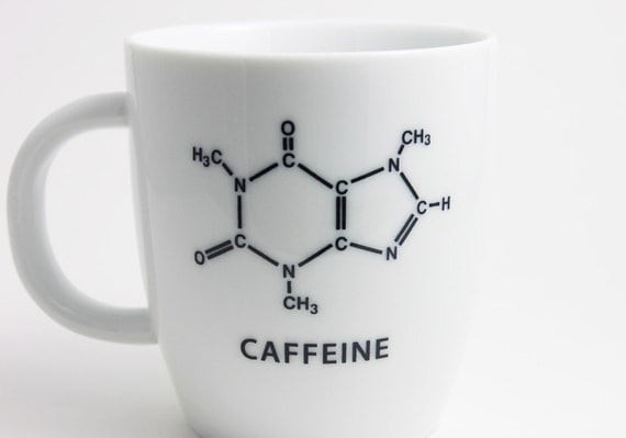 Caffeine Molecule - Chemistry Coffee Cup in Black and White