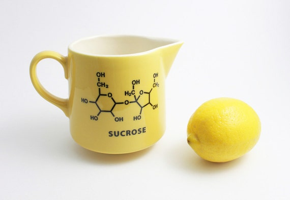 Yellow and Black Maple Syrup Pitcher with Sucrose Chemistry Molecule