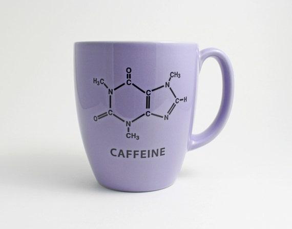 Science Coffee Cup - Lilac Coffee Mug with Caffeine Molecule