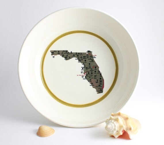 Map of Florida Bowl - White with Green Stripe on SALE - 50% off Original Price of 42.00