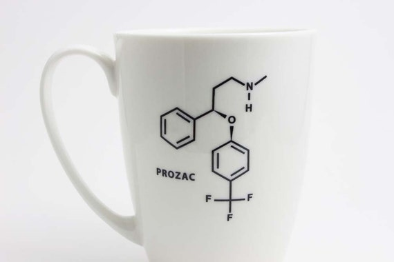 Prozac Chemistry Molecule Coffee Mug - Black and White Coffee Cup