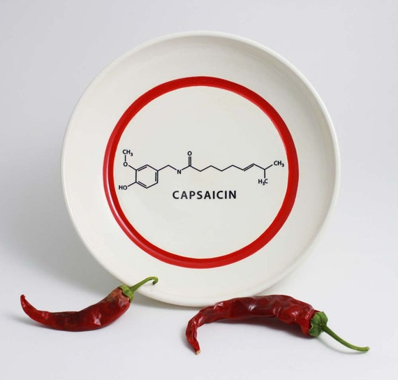 Chili Pepper Capsaicin Molecule Bowl in Red and White