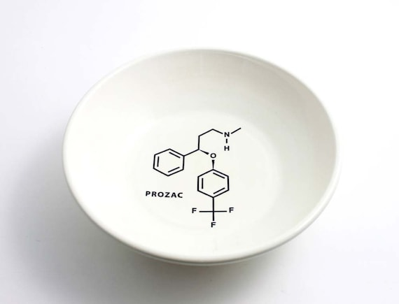 Prozac Molecule -  Chemistry Bowl in Black and White