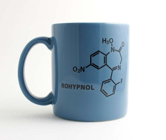 Gag Gift - Rohypnol Chemistry Molecule Coffee Cup in Black and Blue