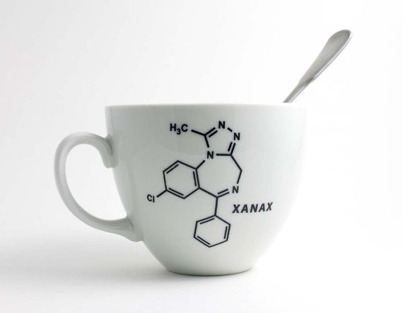 Xanax Chemistry Coffee Cup - Black and White with Xanax Molecule