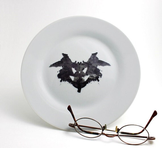 Rorschach Test - Psychiatrist Ink Blot Plate in Black and White