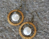 stamped Vintage raw brass and genuine freshwater pearl earrings
