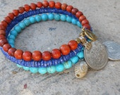 protection - Boho chic blue shell, howlite, and wood, Vintage Middle Eastern coins, and Hand painted Evil eye bead