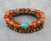 Stability and truth - 108 mala wood prayer beads with genuine Carnelian gemstones, and a Tibetan capped guru bead