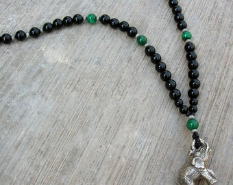 Men's Onyx and Malachite elephant pendant necklace - intuition