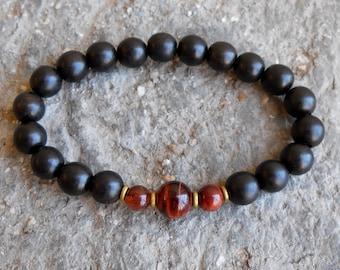 prosperity and strength - Ebony and red Tiger's eye mala bracelet