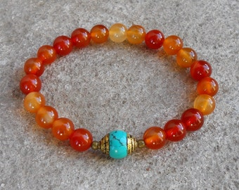 stability - Carnelian and capped turquoise genuine gemstone yoga mala bracelet, yoga jewelry