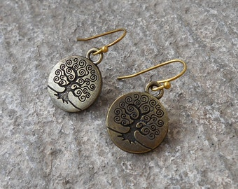 Tree of life earrings in antique bronze, yoga jewelry, free shipping