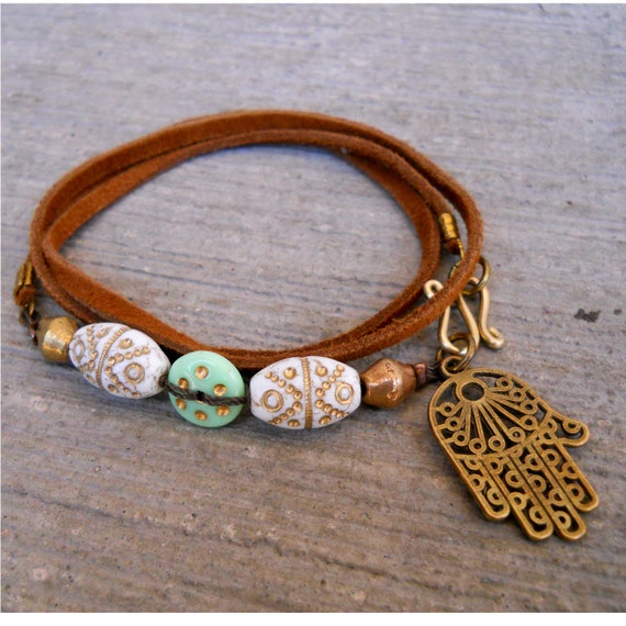 leather wrap bracelet - Genuine Greek leather, Middle Eastern hand painted beads, and protective Hamsa hand charm