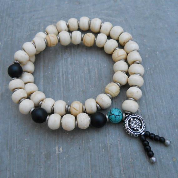 Men's wrap mala bracelet, bone prayer beads, matte onyx, and genuine turquoise, yoga jewelry