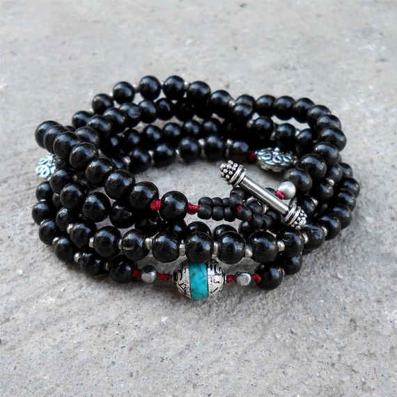 Protection and Strength, Buddha, red string, 108 bead mala, ebony, yoga jewelry