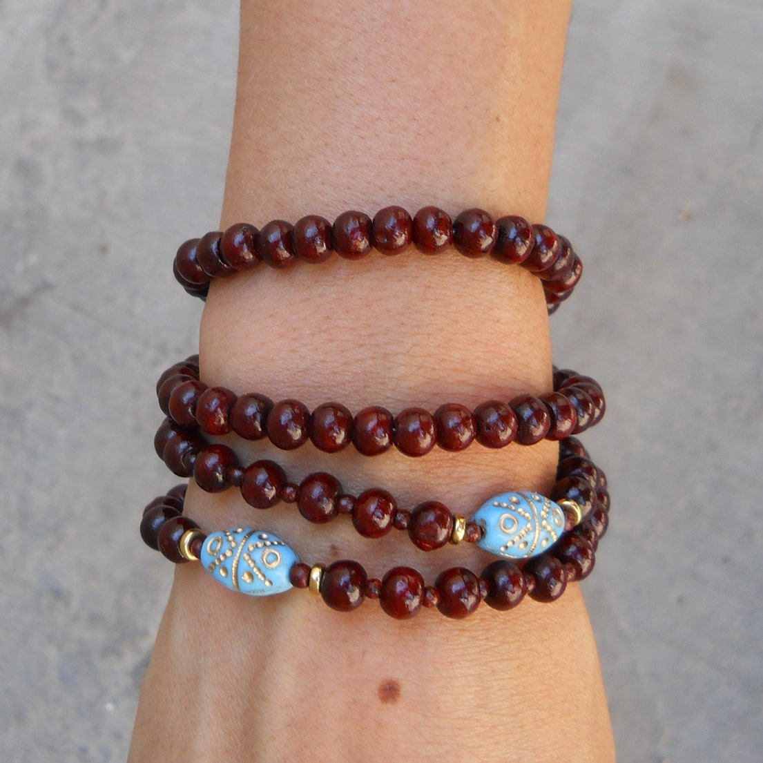 108 mala rosewood prayer beads and hand painted middle eastern