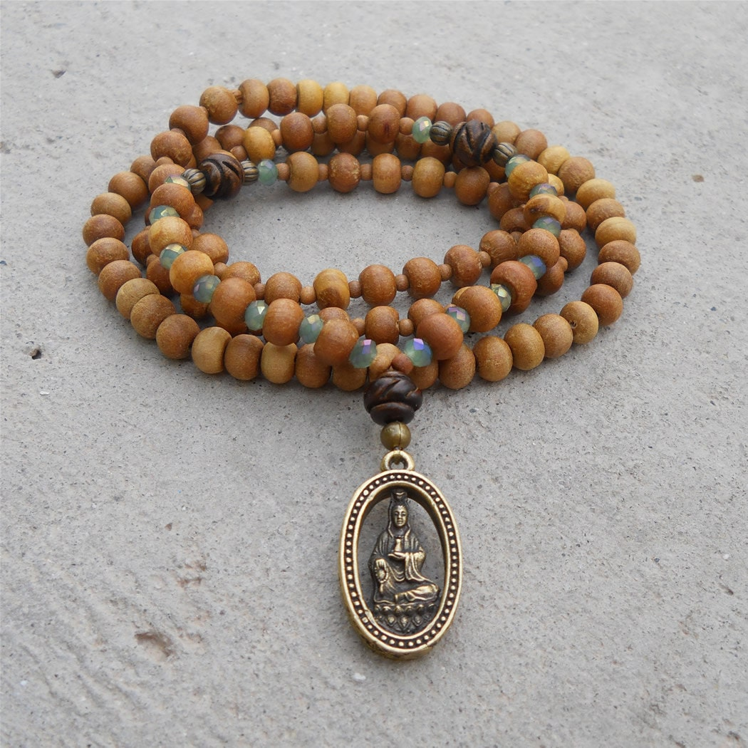 Yoga Beads: Quan Yin 108 Bead Mala Yoga Bracelet Wrap Bracelet Or By