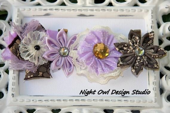4 Flower Hair Clips - Kanzashi Rosette Lavender Lovely