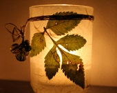 mossy green real wild botanical leaf candleholder luminary with handmade paper