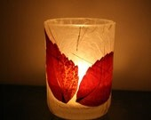 deep red real wild leaf candle holder luminary with handmade paper