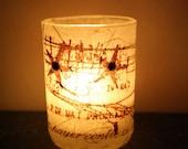 chocolate brown abstract beach tea light candleholder luminary with handmade paper