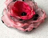 whimsical wedding bride single silk fabric rose flower brooch barrette pin