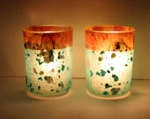 Votive Tealight Glass Candle Holder with Teal Blue Handmade Paper for Outdoor Weddings, Ocean Beach Houses, or Vacation Homes