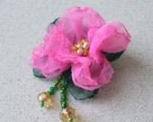 everyday office business ruffle tattered pink single chiffon flower brooch pin