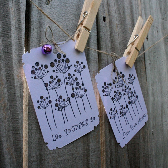 handmade paper gift tags in lavender purple and orchid