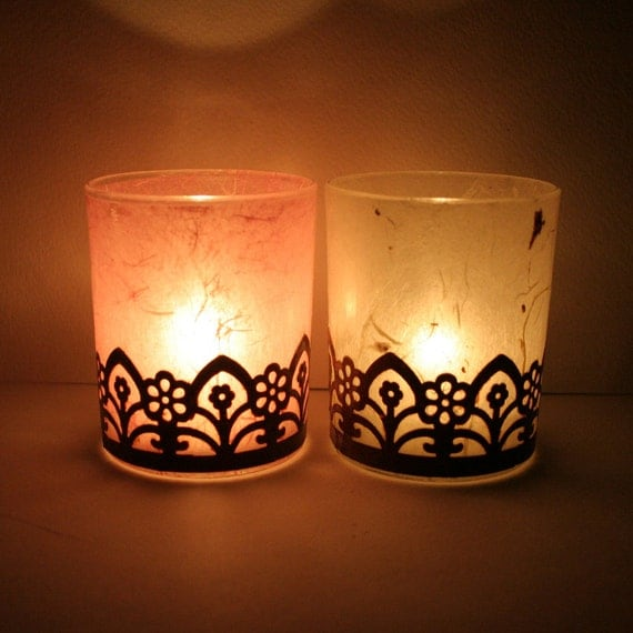 sexy gothic steampunk home decor candle holder luminary with handmade paper