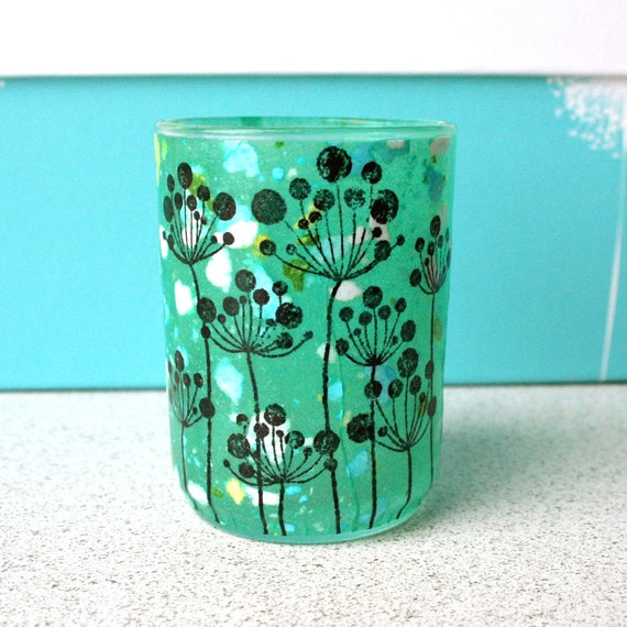 Spring Shabby Chic Wedding Candle Holder with Turquoise Teal Dandelion Flowers for Reception Decorations, Table Settings, or Newlywed Gifts