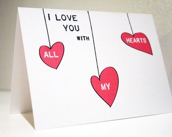I Love You with All My Hearts -- Set of 2 Cards & Envelopes (or Pick Your Quantity)