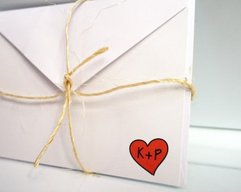 Heart -- Personalized Stationery -- Signed with Love -- Wedding or Valentine -- Set of Flat Notes and Envelopes- CHOOSE your QUANTITY