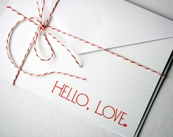 Hello, Love. -- Set of 2 Cards & Envelopes -- EtsyXO