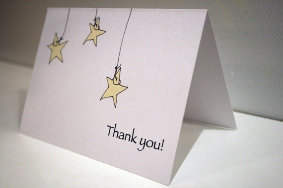 Thank You Notes --- Set of 'Hanging Stars' Notes & Envelopes -- CHOOSE YOUR QUANTITY