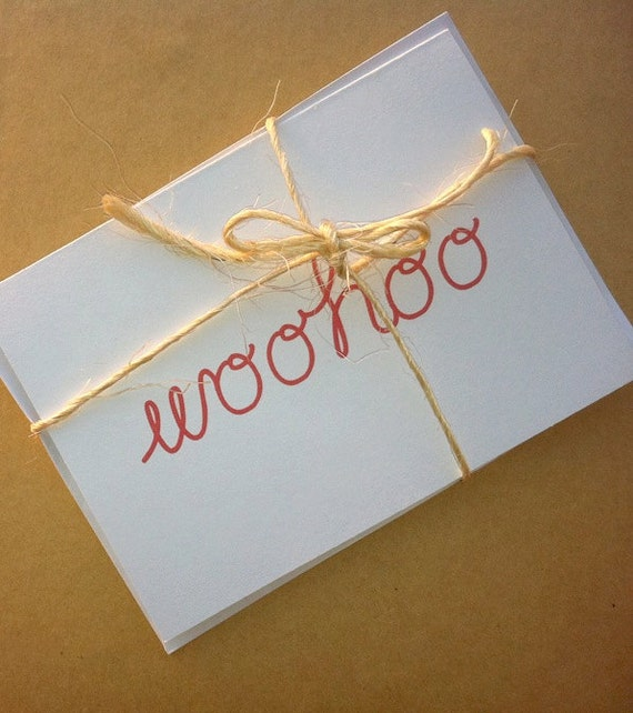 WOO HOO -- Congrats, Grad -- Set of Two Cards & Envelopes in White -- Celebration/Graduation