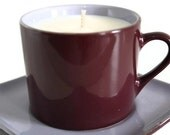 White Tea & Berries - Soy Candle In A Vintage Purple and Plum Teacup and Saucer Set Handmade in Australia